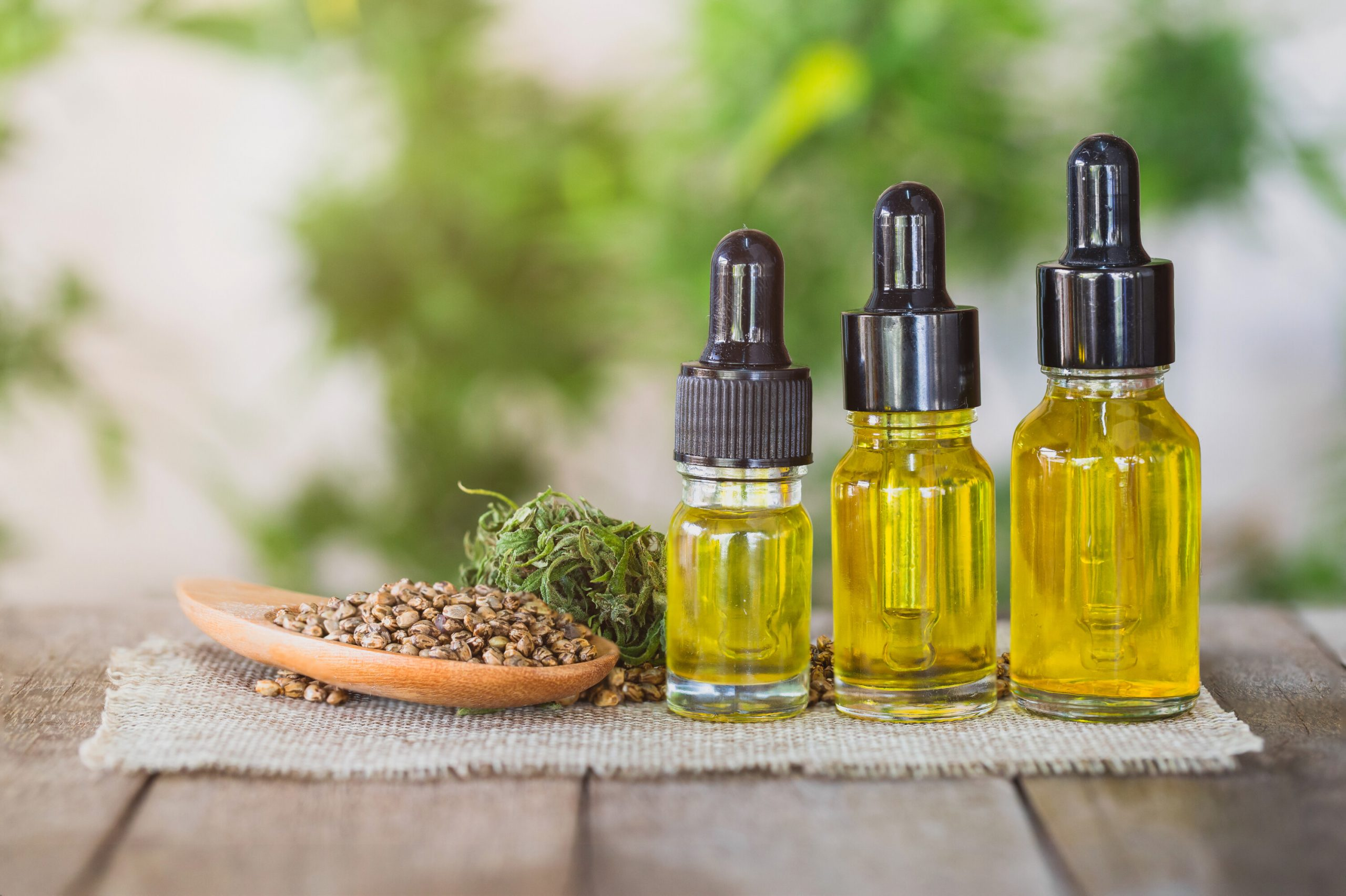 Bottles of CBD oil